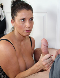 Big titties stepmom stroking huge dick of her stepson